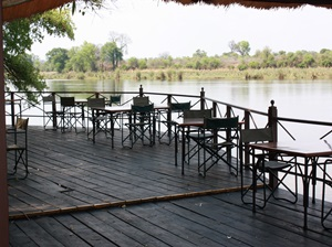Deck over the Kavango at Mahangu Safari Lodge