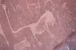 San art at Twyfelfontein first world heritage site in Namibia